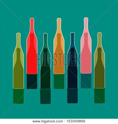 Background Bottle Vector.Alcoholic Bar Menu.Design for Party.Template for Menu Card.Wine List Placard.Suitable for Poster.Wine Art Ilustration.