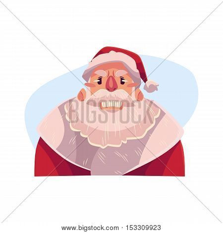 Santa Claus face, angry facial expression, cartoon vector illustrations isolated on blue background. Santa Claus emoji face icon, feeling distresses, frustrated, sullen, upset. Angry face expression