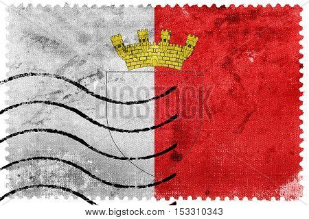 Flag Of Mdina With Coat Of Arms, Malta, Old Postage Stamp