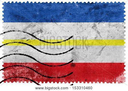 Flag Of Mecklenburg-western Pomerania, Germany, Old Postage Stamp