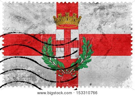 Flag Of Milan With Coat Of Arms, Italy, Old Postage Stamp