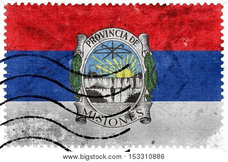 Flag Of Misiones Province With Coat Of Arms, Argentina, Old Postage Stamp