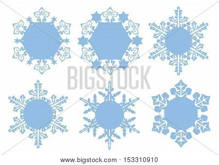 Set of vector snowflakes simple form blue