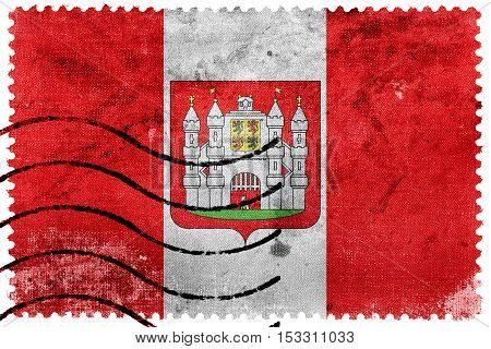 Flag Of Mons With Coat Of Arms, Belgium, Old Postage Stamp