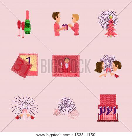 assembly of flat illustration New Year celebration