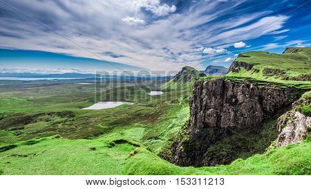 Beautiful View From Quiraing To Valley In Scotland At Summer, United Kingdom