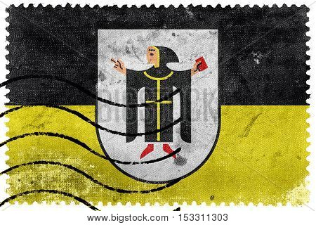 Flag Of Munich With Coat Of Arms, Germany, Old Postage Stamp