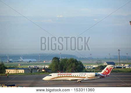 Moscow, Russia - May 27, 2016: Rusline aircraft airplane is ready to take-off in the Domodedovo airport