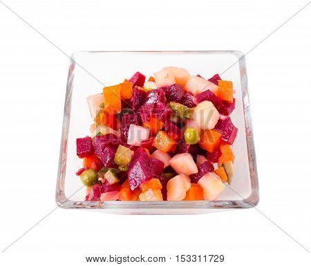 Russian beet salad vinaigrette. Isolated on a white background.