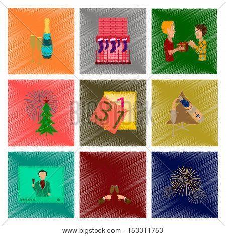 assembly of flat shading style illustration New Year celebration