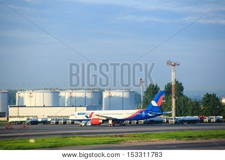 Moscow, Russia - May 27, 2016: Azurair aircraft in the Domodedovo airport parking