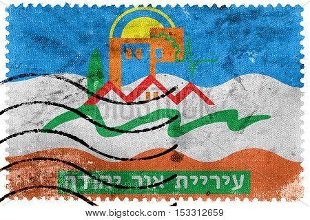 Flag Of Or Yehuda, Israel, Old Postage Stamp
