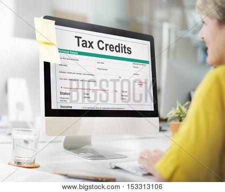 Tax Credits Claim Return Deduction Refund Concept