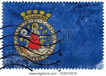 Flag Of Oslo, Norway, Old Postage Stamp