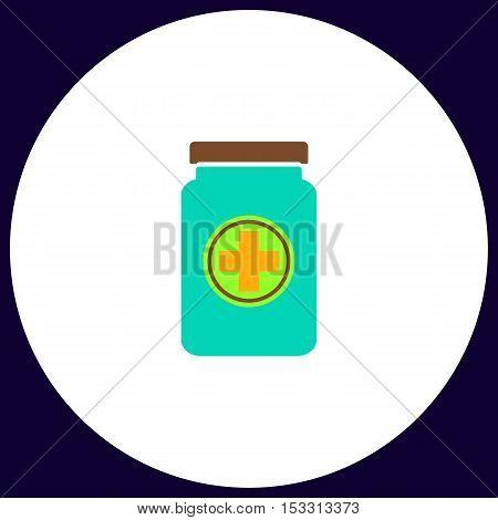 medicine bottle Simple vector button. Illustration symbol. Color flat icon