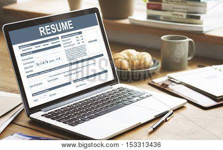 Resume Application Employment Form Concept