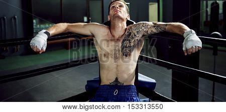 Boxer Rest Sitting Corner Rounds Break Concept