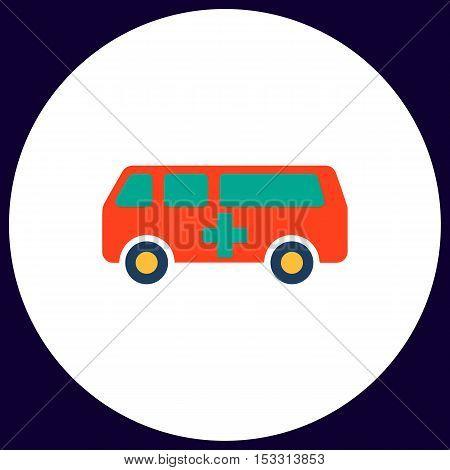 Ambulance Simple vector button. Illustration symbol. Color flat icon
