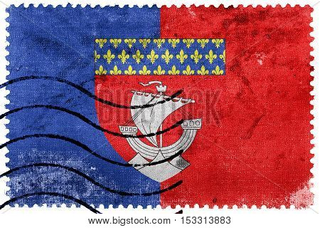 Flag Of Paris With Coat Of Arms (escutcheon Only), France, Old Postage Stamp