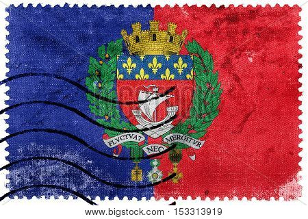 Flag Of Paris With Coat Of Arms, France, Old Postage Stamp