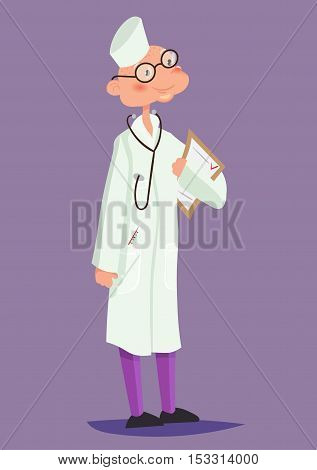 Doctor with stethoscope around his neck. Vector illustration. character design cartoon.