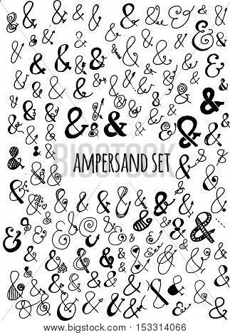 Hand drawn  big ampersand set. Vector illustration.