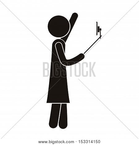 avatar pictogram person using a selfie stick and smartphone device taking a photo selfie. vector illustration