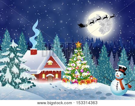 House snowy christmas landscape vector photo bigstock for Christmas landscape images