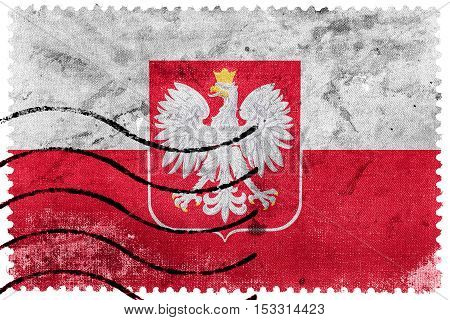 Flag Of Poland With Coat Of Arms, Old Postage Stamp