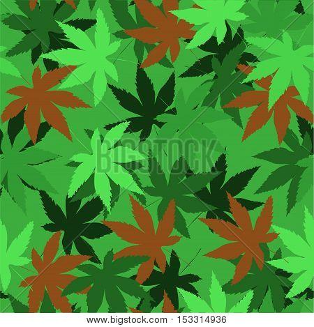 Seamless vector pattern with marijuana leaves hemp cannabis