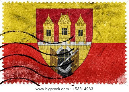Flag Of Prague With Coat Of Arms (escutcheon Only), Czechia, Old Postage Stamp