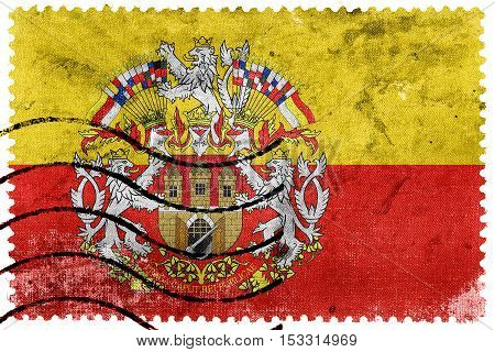 Flag Of Prague With Coat Of Arms, Czechia, Old Postage Stamp