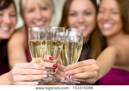 Young Ladies Toasting With Flutes Of Champagne