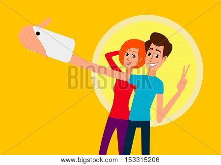 Selfie. Handsome young man looking at smartphone, holding camera and making selfie with cellphone and smiling while standing against blue background. Self photo. Vector flat design illustration