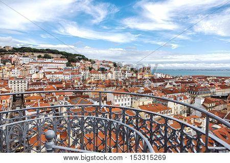 View of the beautiful Lisbon downtown area
