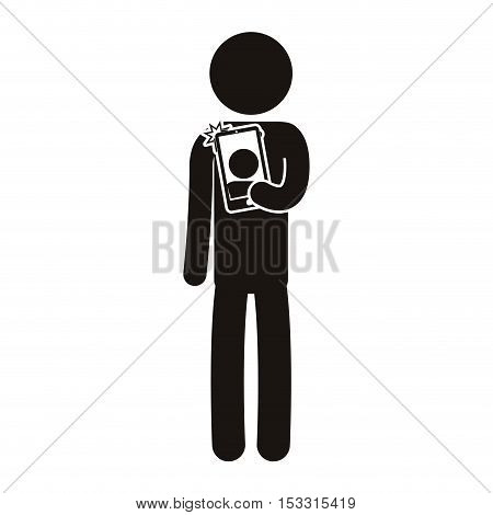 avatar pictogram man standing and taking a photo selfie with smartphone device. vector illustration