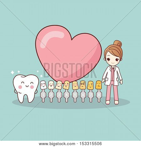 Happy cartoon tooth and dentist with love heart and whitening and bleaching tool great for dental care and teeth whitening and bleaching concept