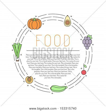 Fruit and vegetable multicolored outline circle frame with place for your text. Clean and simple design. Part one.
