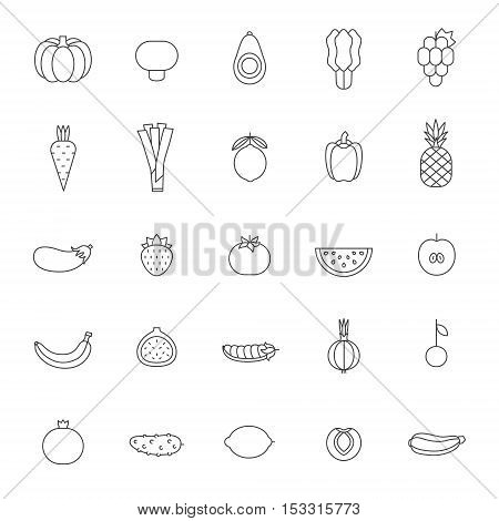 Fruit and vegetable gray outline vector set. Clean and simple design.