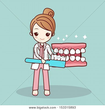 Happy cartoon denture and dentist teach you brush teeth great for health dental care concept