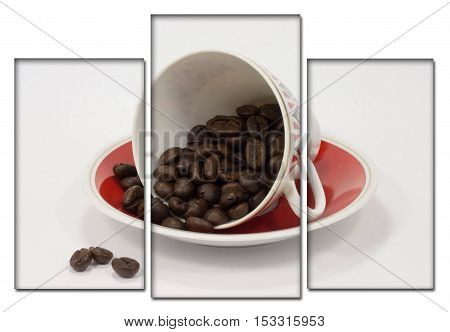 A cup on a saucer with coffee beans. Modular illustration