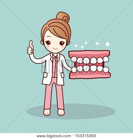 Happy cartoon denture and dentist show thumb up great for health dental care concept