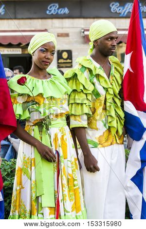 QUARTU S.E., ITALY - July 15, 2016: 30th Sciampitta - International festival of folklore - Maraguan Group Camarguey University (Havana - Cuba) - Sardinia