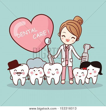 Happy cartoon tooth family with dentist doctor great for health dental care concept