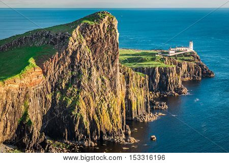 Wonderful Dusk At The Neist Point Lighthouse In Isle Of Skye, Scotland
