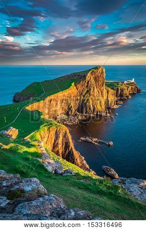 Dusk At The Neist Point Lighthouse In Isle Of Skye, Scotland