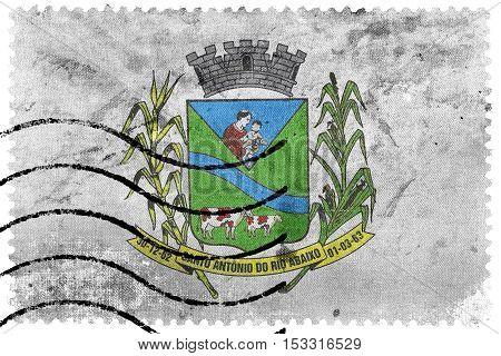 Flag Of Santo Antonio Do Rio Abaixo, Brazil, Old Postage Stamp