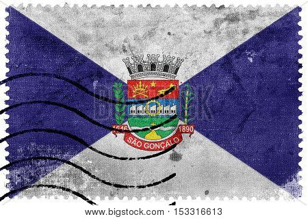 Flag Of Sao Goncalo, Rio De Janeiro State, Brazil, Old Postage Stamp