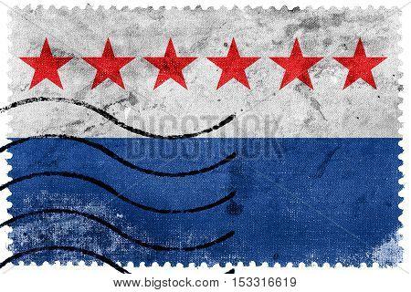 Flag Of Sao Joao Da Barra, Rio De Janeiro State, Brazil, Old Postage Stamp