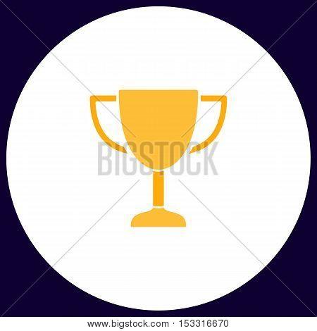 Trophy Simple vector button. Illustration symbol. Color flat icon